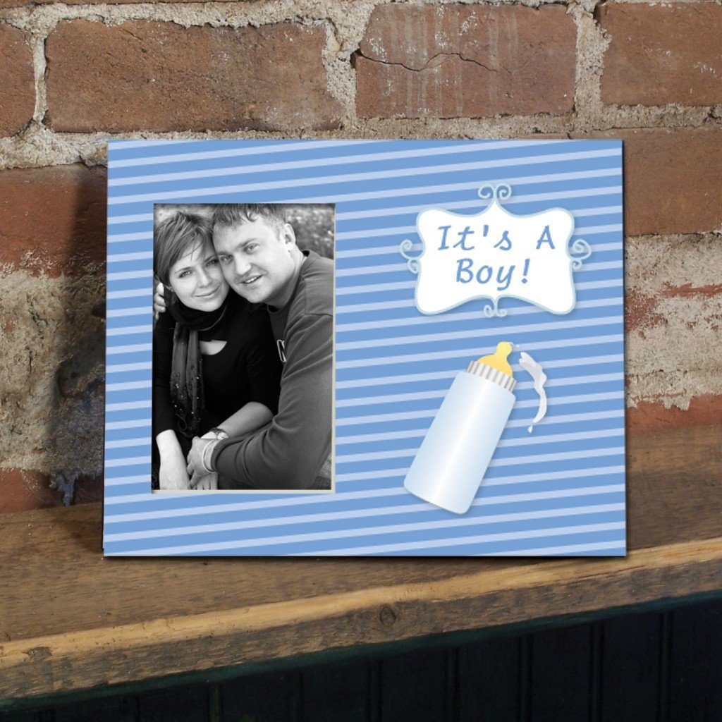 It's a Boy Baby bottle Decorative Picture Frame - Holds 4x6 Photo