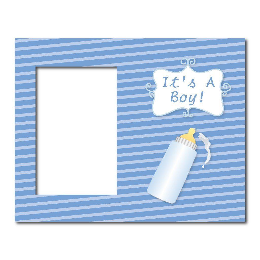 Its A Boy Baby Bottle Decorative Picture Frame Holds 4x6 Photo
