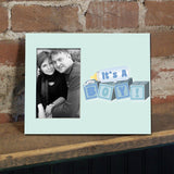 It's a Boy Baby Blocks Decorative Picture Frame - Holds 4x6 Photo