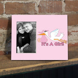 It's a Girl Stork Decorative Picture Frame - Holds 4x6 Photo