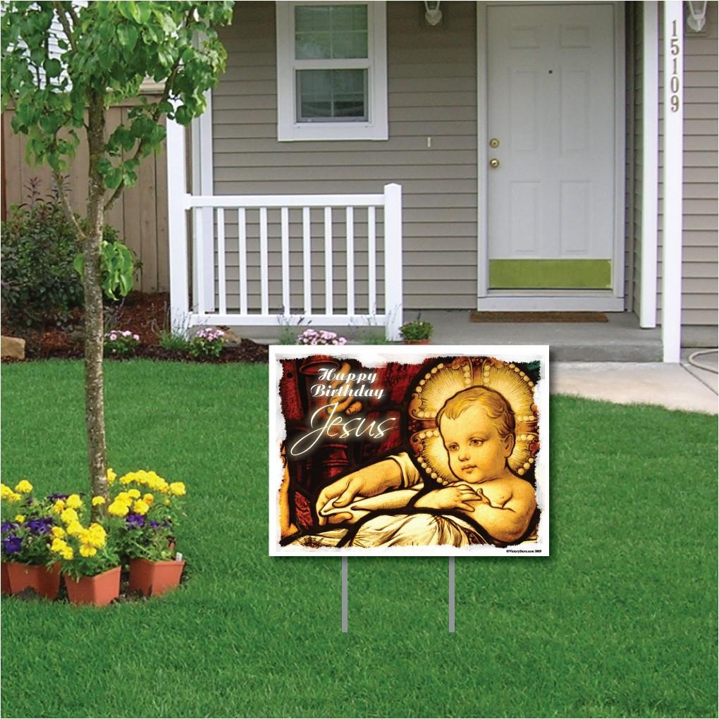 Happy Birthday Jesus (Stained Glass Window) Christmas Yard Sign - FREE SHIPPING