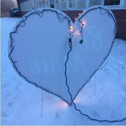 Lighted 'Be Mine' Heart Yard Card with 2 EZ stakes - FREE SHIPPING
