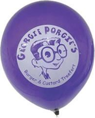 A purple balloon with a custom logo on it