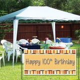 Happy 100th Birthday Bow and Stripes Pattern 2'x4' Vinyl Banner