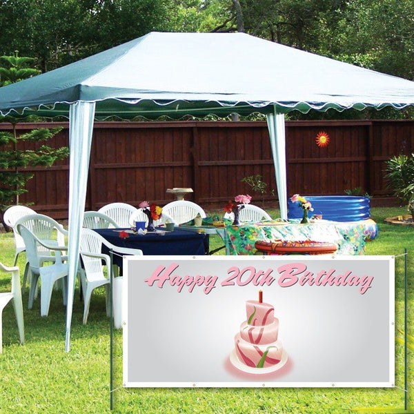 Happy 20th Birthday Cake - 3' x 6' Vinyl Banner