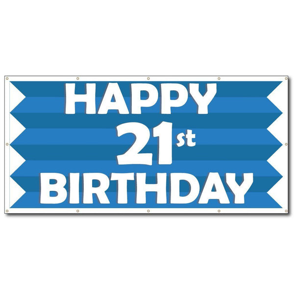Happy 21st Birthday Blue Stripes 2'x4' Vinyl Banner