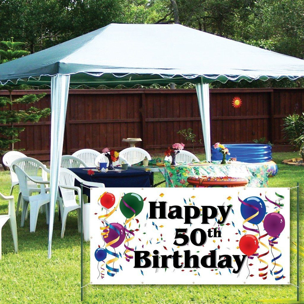 Happy 50th Birthday - 3' x 6' Vinyl Banner