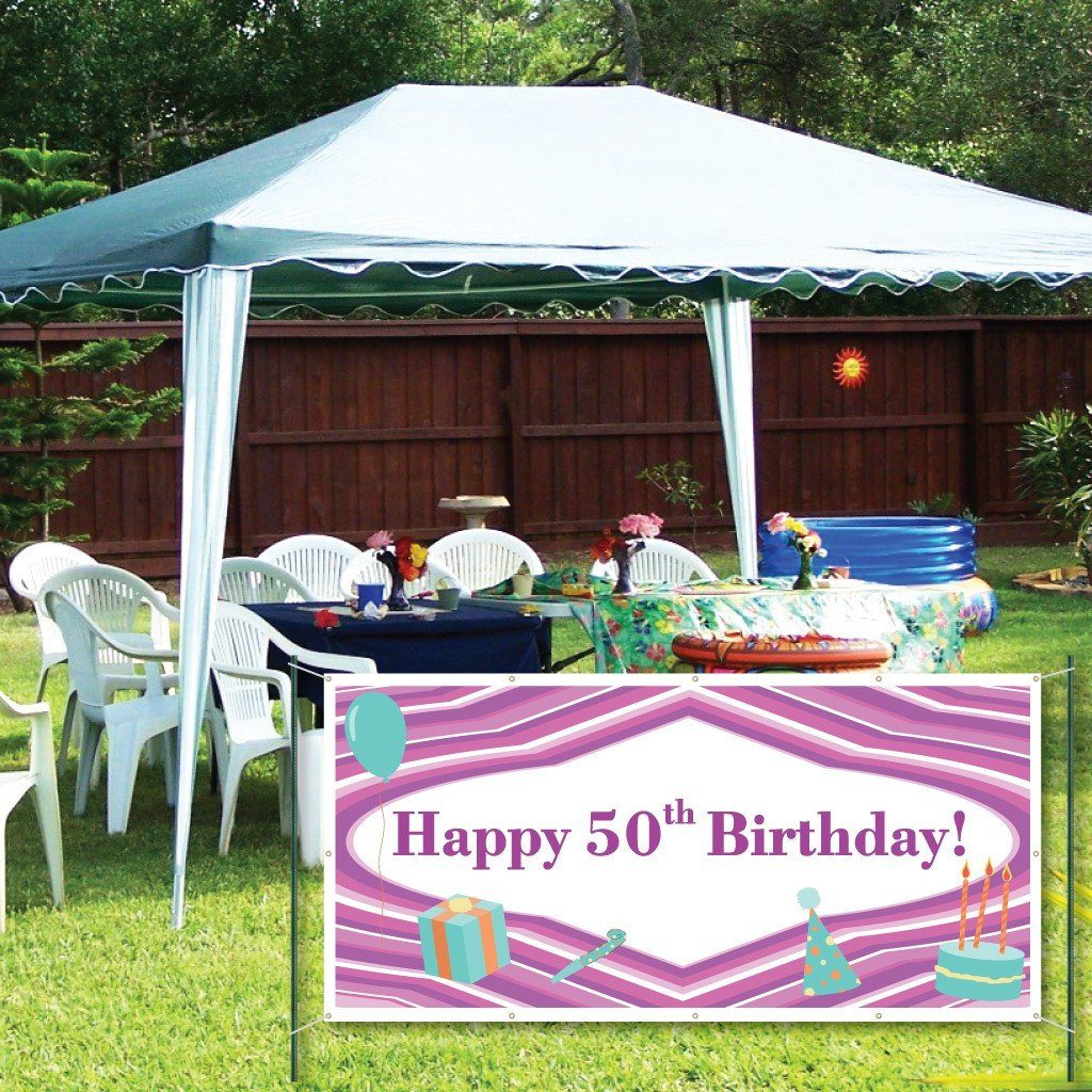 Happy 50th Birthday Purple Lines and Teal Icons 2'x4' Vinyl Banner