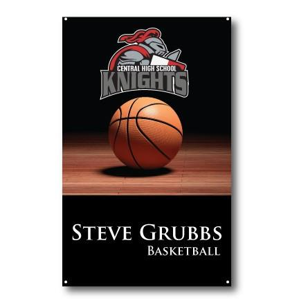 A custom basketball banner