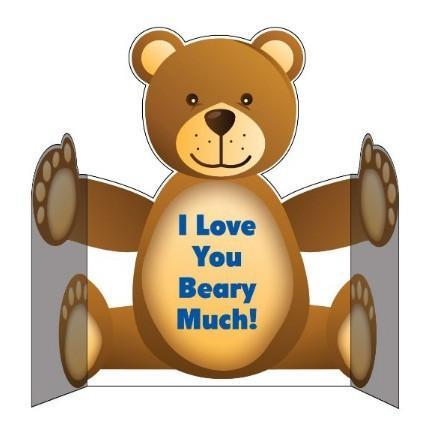 3' Tall Design Your Own Giant Bear Hug Greeting Card W/Envelope