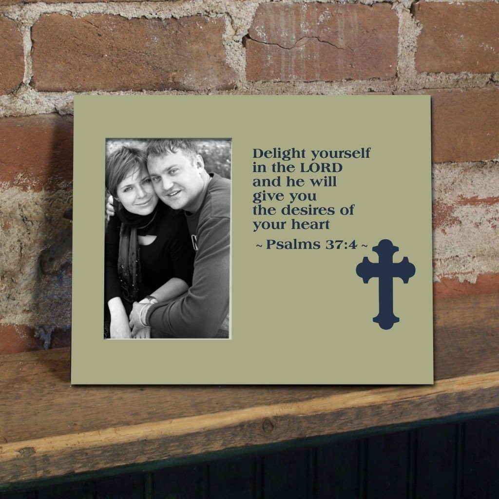 Psalm 37:4 Decorative Picture Frame - Holds 4x6 Photo