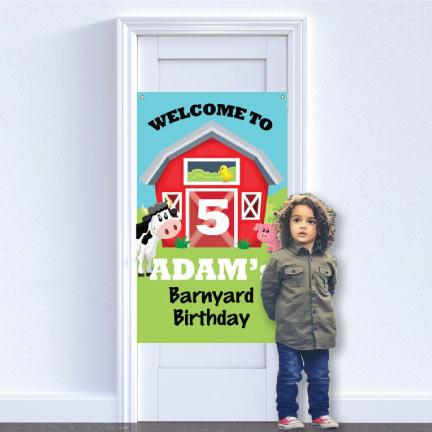 Custom Barnyard Happy Birthday Banner