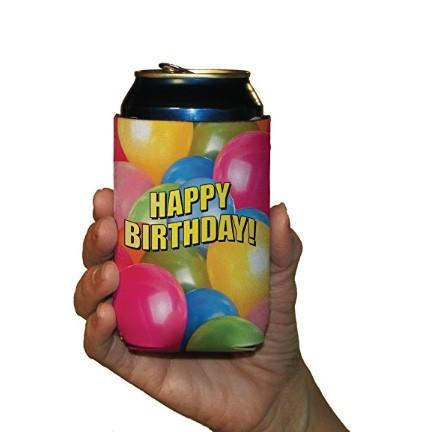 Birthday Party Balloon Can Cooler Set-Set of 6 FREE SHIPPING