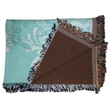 "Wedding Themed Woven Blanket - ""Just Married"" Teal with White Scroll"