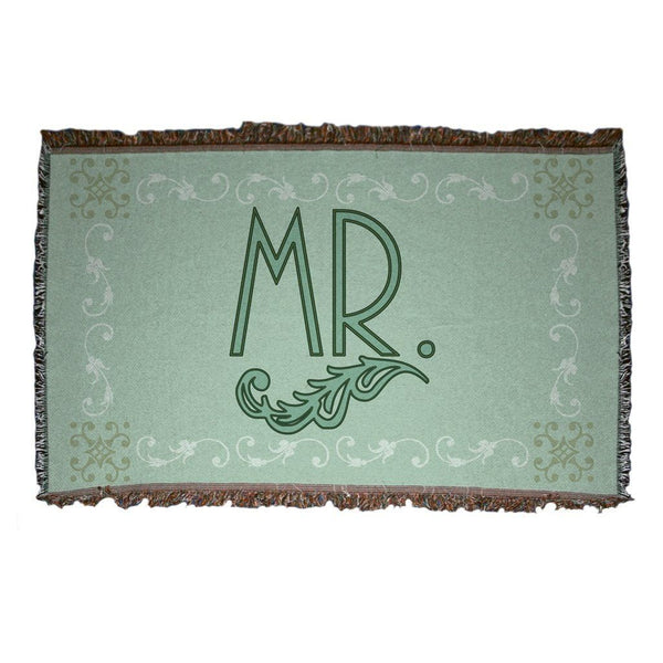 "Wedding Themed Woven Blanket - ""Mr."" - Green Vintage Inspired Design"