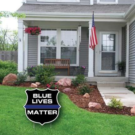 Blue Lives Matter Shield Yard Sign - FREE SHIPPING