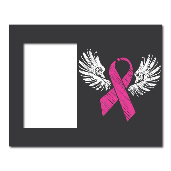 Pink Ribbon with Wings Breast Cancer Decorative Picture Frame - Holds