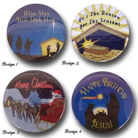 Set of 4 Different Christmas Pinback Buttons