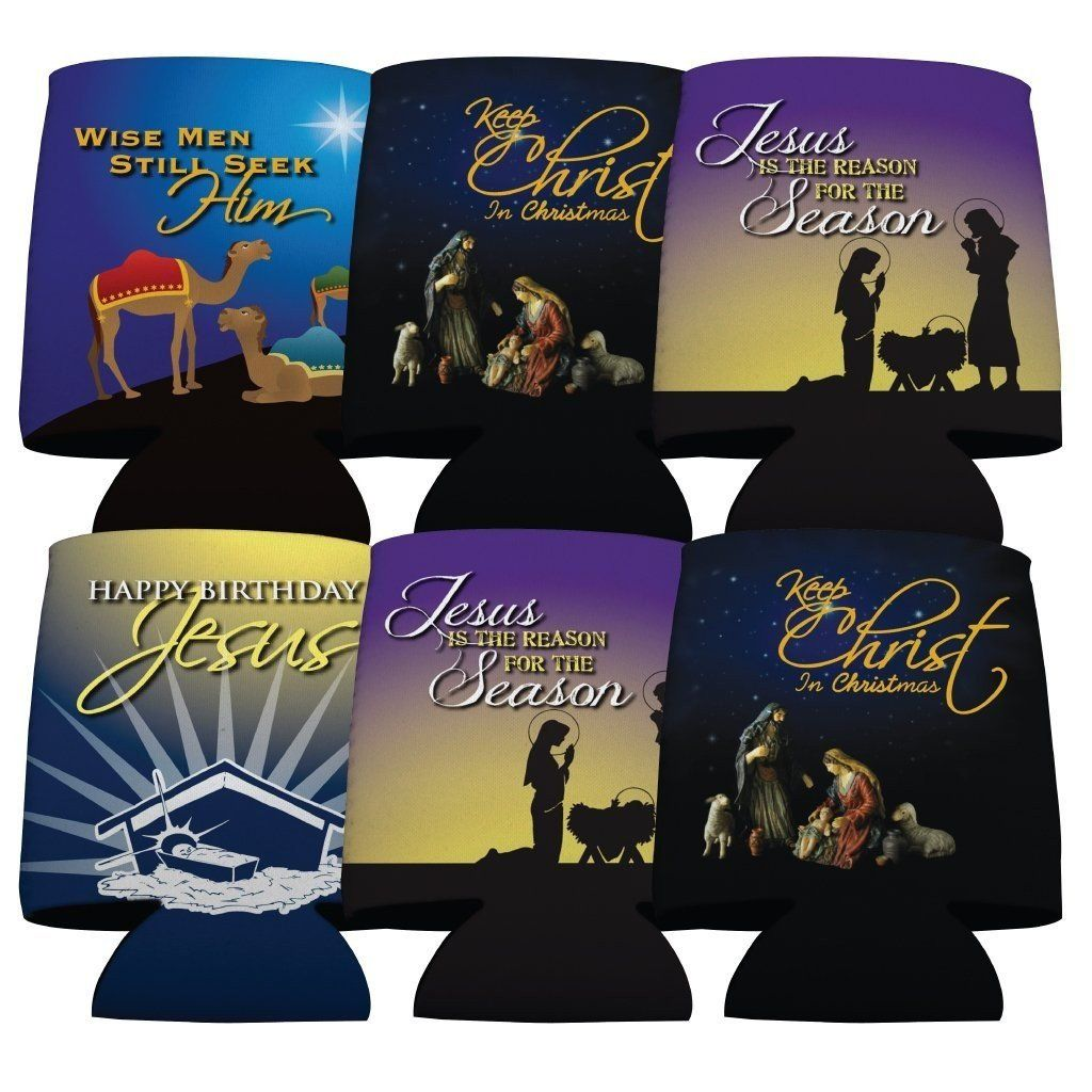 Religious Christmas Can Cooler Set of 6 - FREE SHIPPING