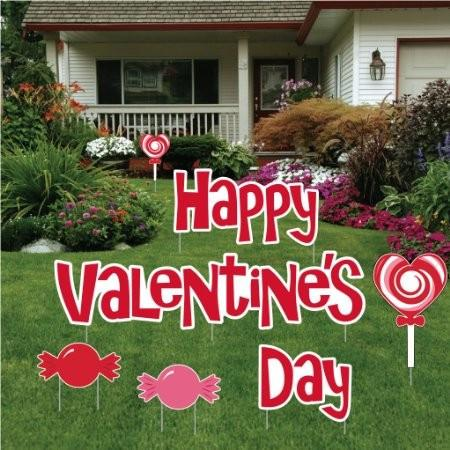 Valentine's Day Yard Decoration - Happy Valentine's Day with Candies - FREE SHIPPING