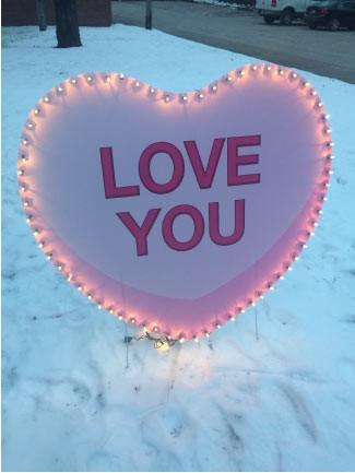 Lighted 'Love You' Candy Heart Yard Card w/ 2 EZ stakes - FREE SHIPPING