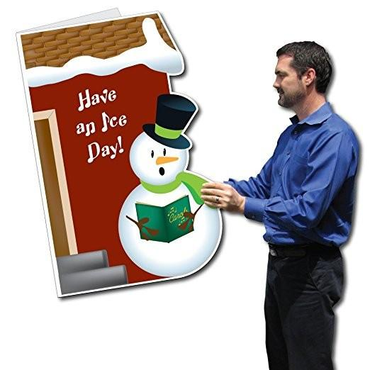 Giant Christmas Card (Die Cut Snowman), W/Envelope - Stock Design