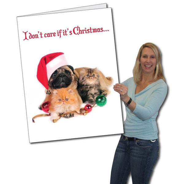 Giant Christmas Card, Dog and Cat, W/ Envelope - Stock Design