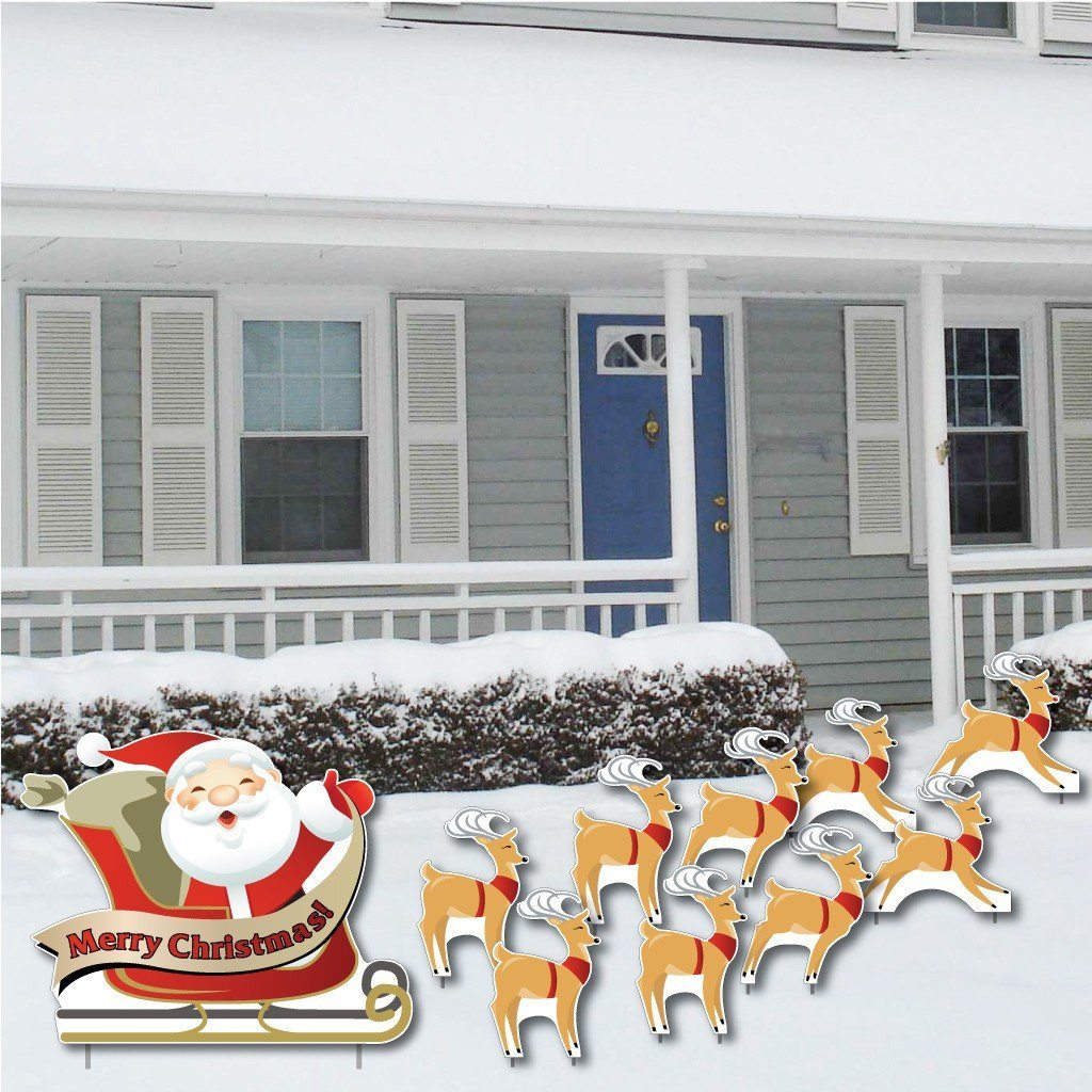Merry Christmas! Santa and 9 Reindeer Lawn Decorations 10 pcs total - FREE SHIPPING