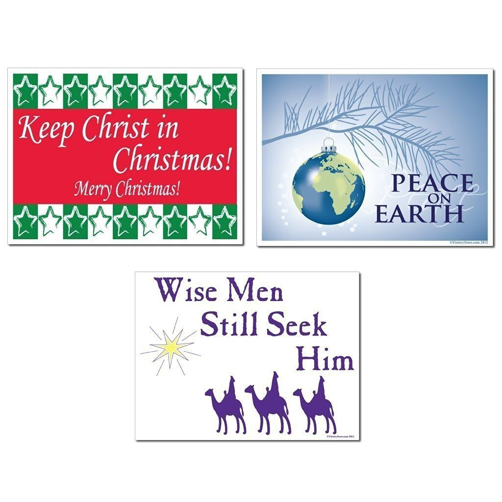 Merry Christmas Religious Yard Sign Set of 3 (3 Different Signs) - FREE SHIPPING