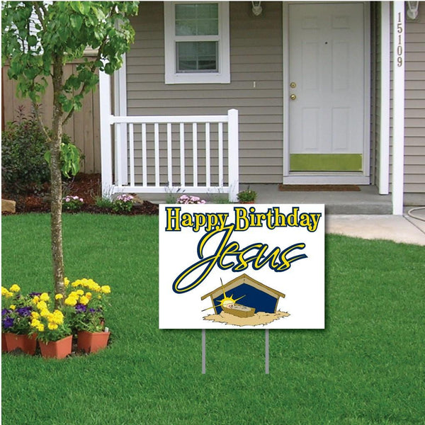 Happy Birthday Jesus (white) Christmas Lawn Display - Yard Sign
