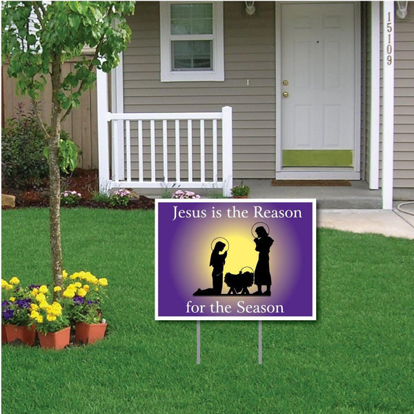 "Jesus Is The Reason 18""x24"" Yard Sign Decoration with EZ Stakes"