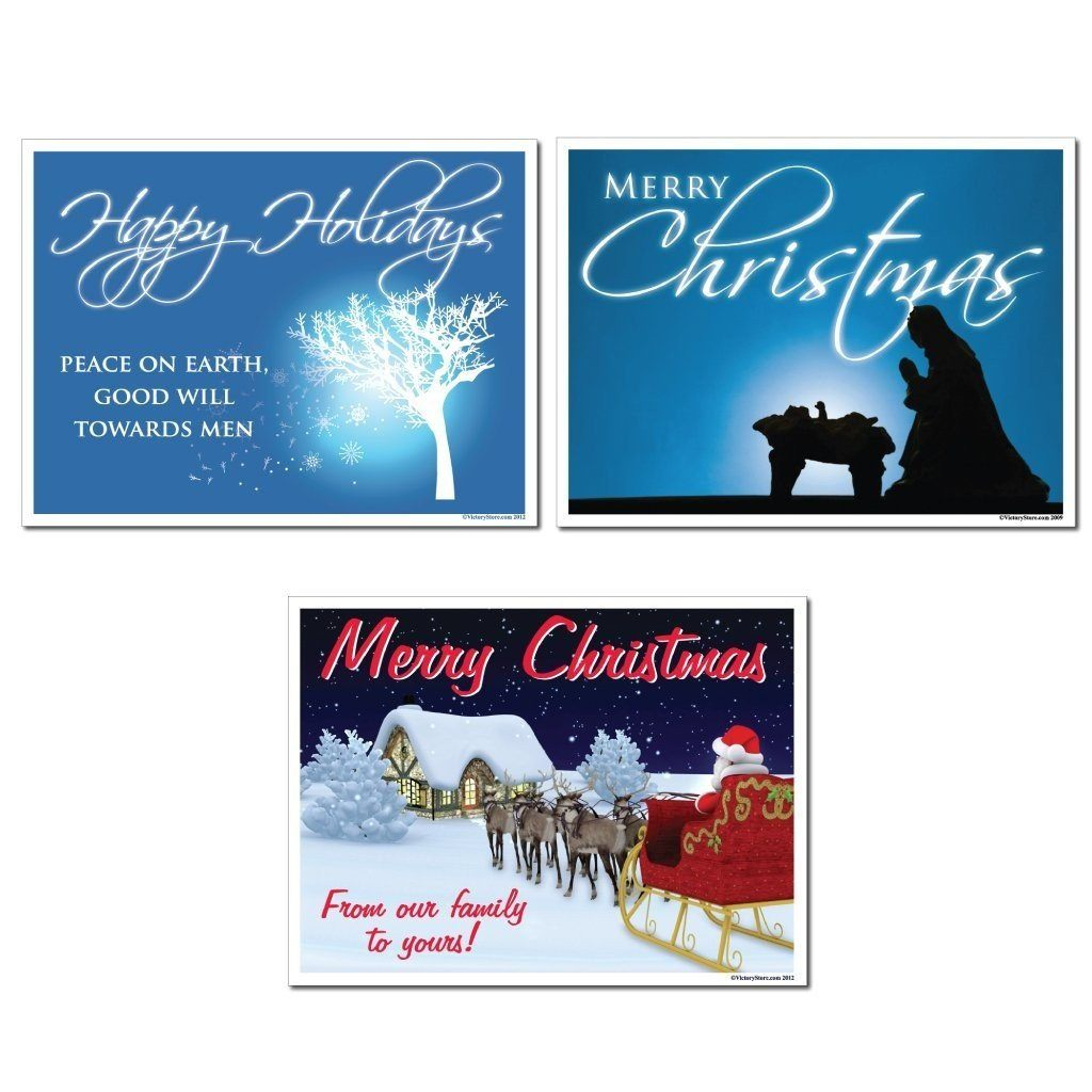 Merry Christmas Yard Sign Set of 6 (3 Different Signs) - FREE SHIPPING