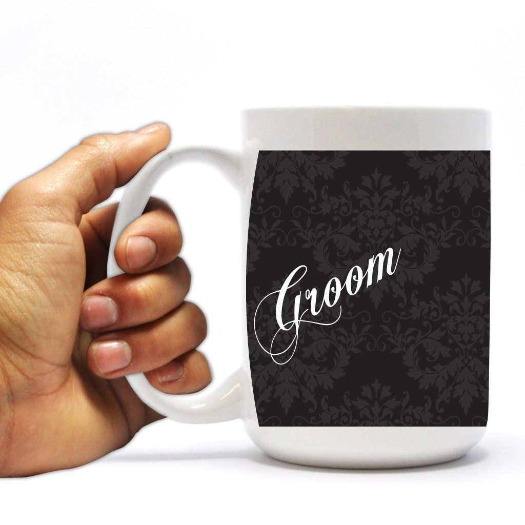 "Wedding Themed 15oz Coffee Mug - ""Groom"" - Black and White Silhouette"