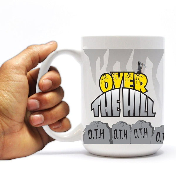 "Happy Birthday Coffee Mug - ""Over The Hill Tombstones"" - 15 oz Ceramic"