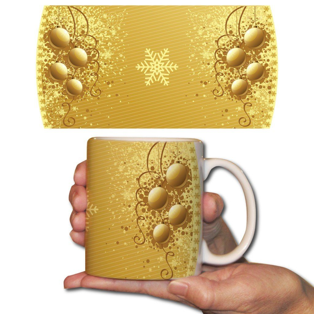 Gold Ornaments Christmas Coffee Mug - 15 Oz