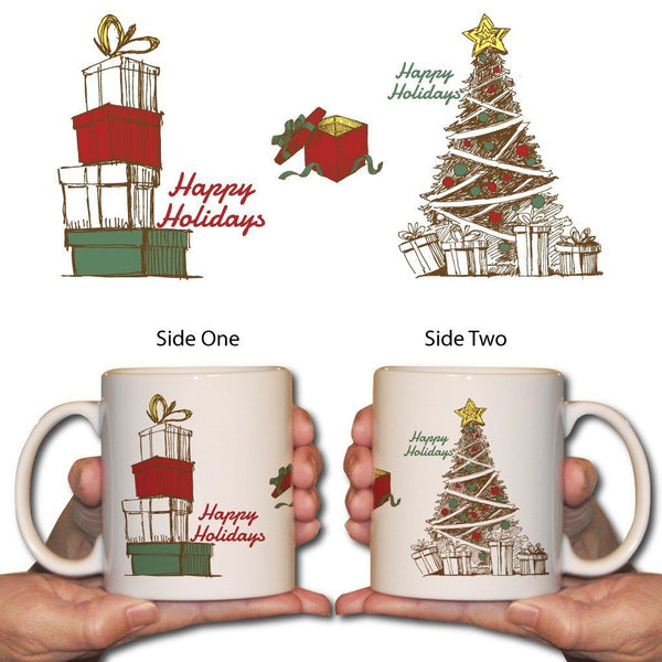 Tree and Presents Christmas Coffee Mug - 15 Oz