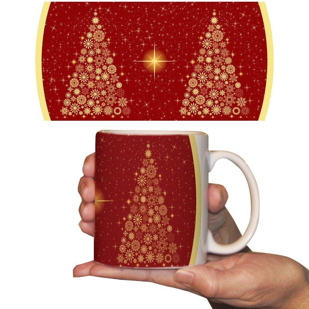 Star Tree with Red Background Christmas Coffee Mug - 15 Oz