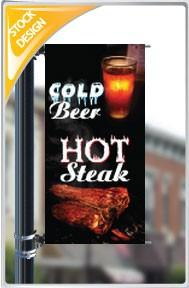 "18""x36"" Hot Steaks, Cold Beer Pole Banner FREE SHIPPING"