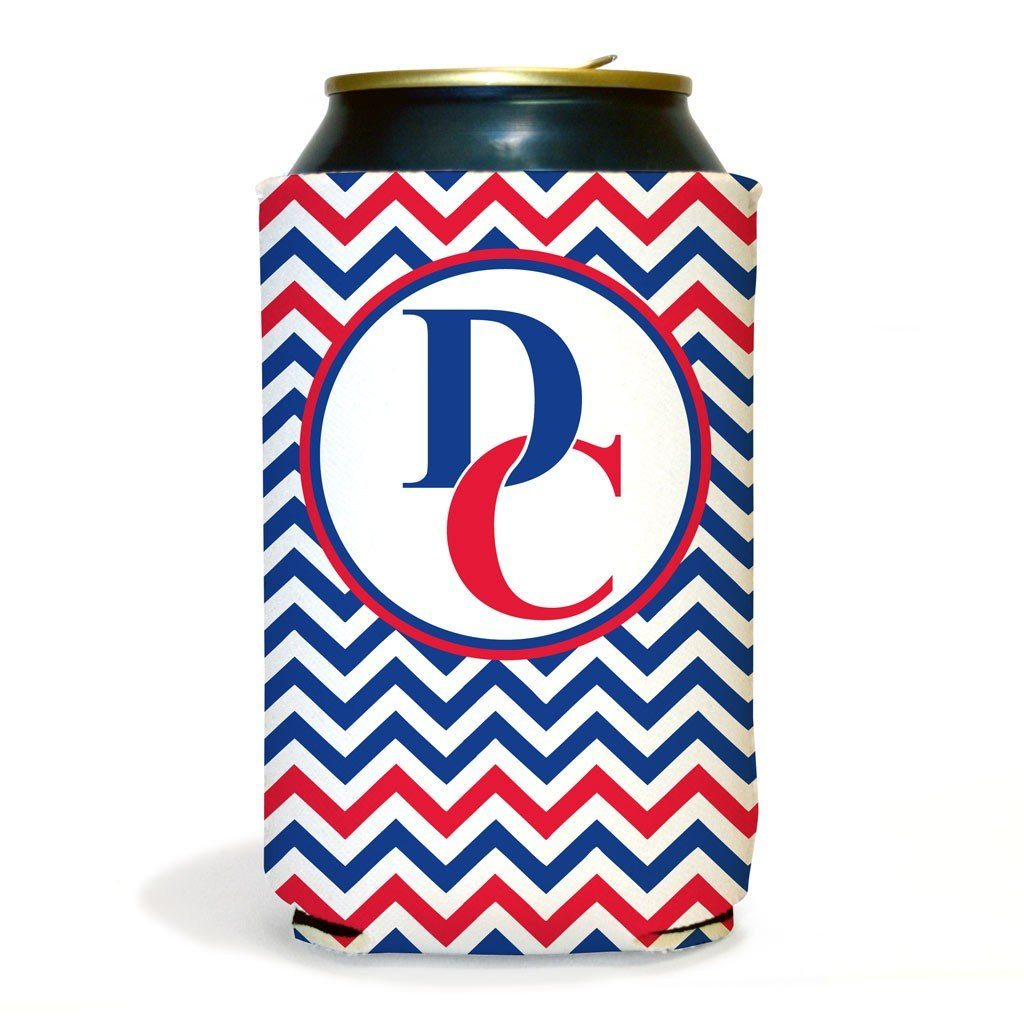 Set of 6 Central Blue Devils Chevron Koozies