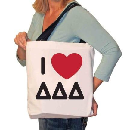 I Love Tri Delta Canvas Tote Bag
