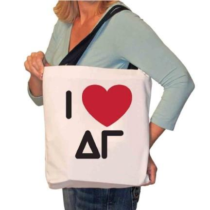 I Love Delta Gamma Canvas Tote Bag