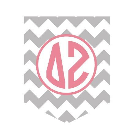 Delta Zeta - Chevron with Monogram Pocket T-Shirt