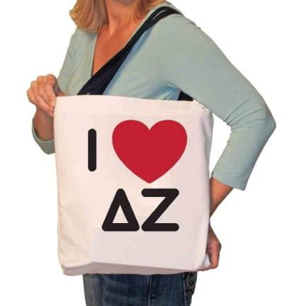 I Love Delta Zeta Canvas Tote Bag