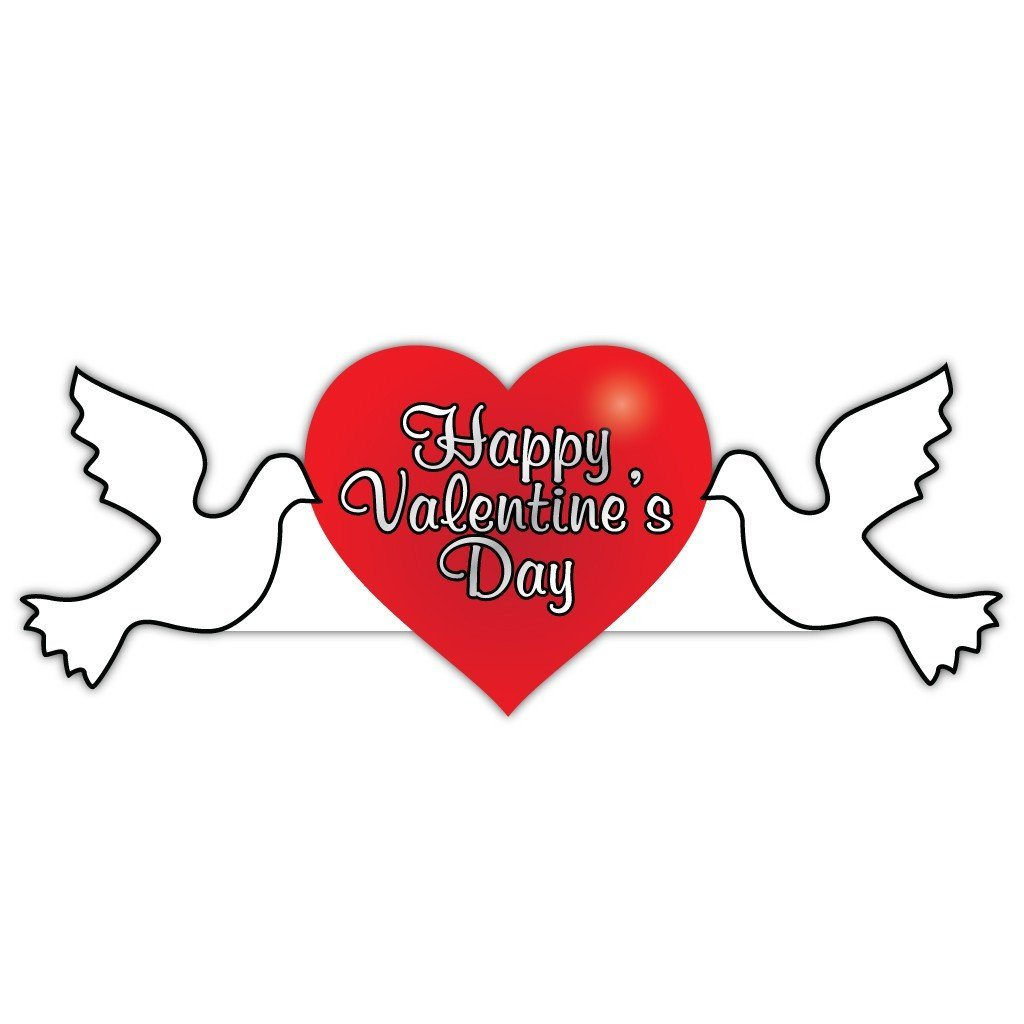 Valentine's Lawn Decoration - Happy Valentine's Day Dove 2' x 4' Sign - FREE SHIPPING
