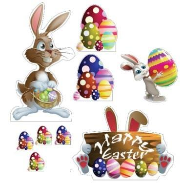 Easter Yard Decoration - Easter Bunnies, Egg Piles, Happy Easter Sign with 18 short stakes