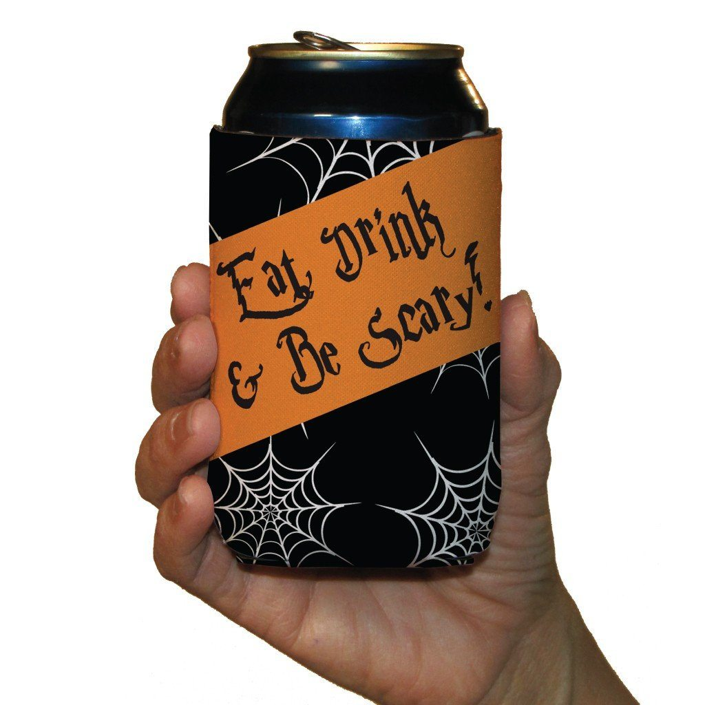 Halloween Party 'Eat, Drink, and Be Scary' Can Cooler Set 6 FREE SHIPPING