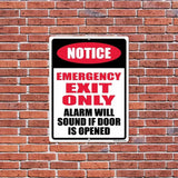 "An aluminum sign that says ""Emergency Exit Only"""