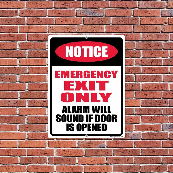 "Notice Emergency Exit Only 18""x24"" Aluminum Sign"
