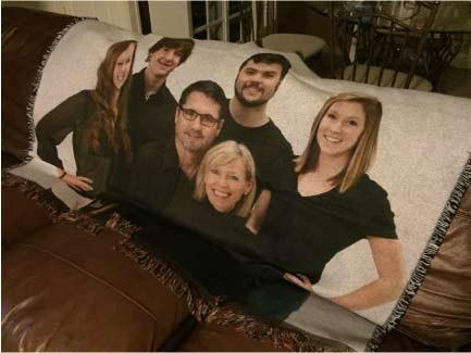A personalized throw blanket