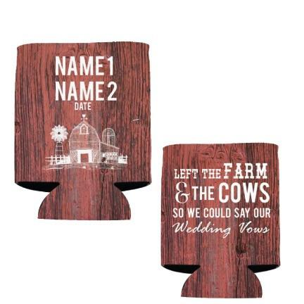 Custom Wedding Can Cooler- Country/Farm Theme